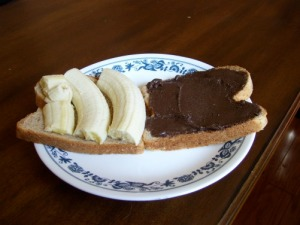 banana and almond butter sandwich