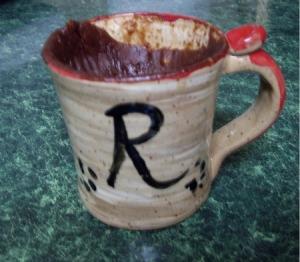 Sinking chocolate cake in a mug