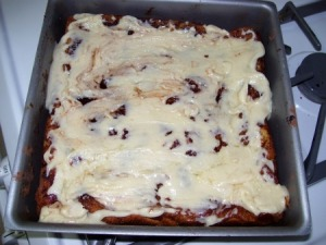 bread pudding after baking
