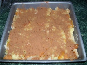 Bread pudding before going into the oven
