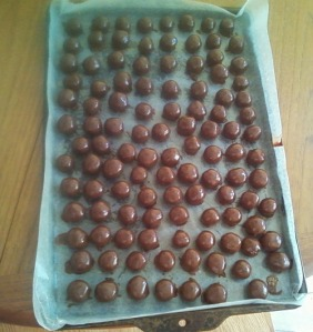 a pan of finished nut balls