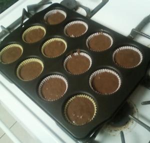 choc muffins in a pan